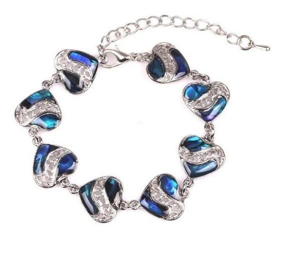 Pulseira Feminina C/ Coração Resina Azul Importado