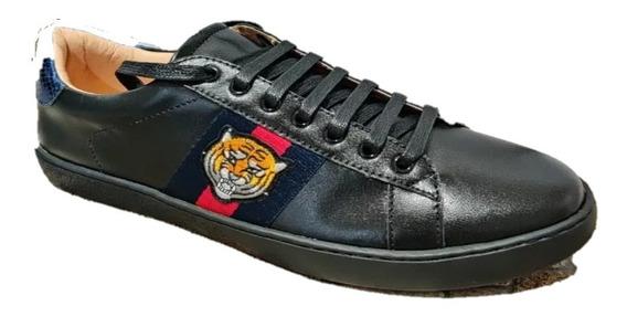 Sneakers Tenis Gucci Tigre Negro Remate Envío Gratis