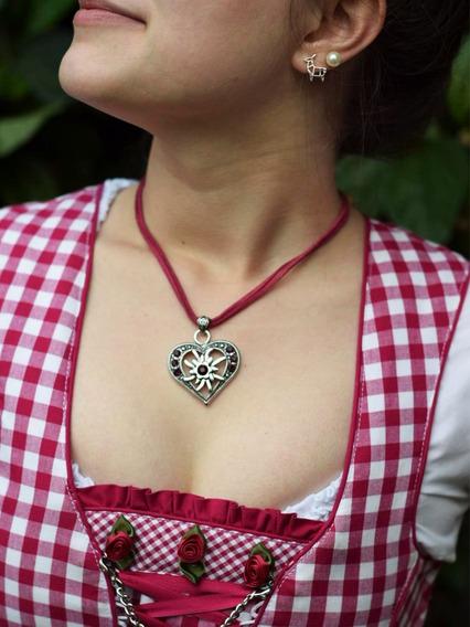 Colar Edelweiss Coração Rosa Com Strass