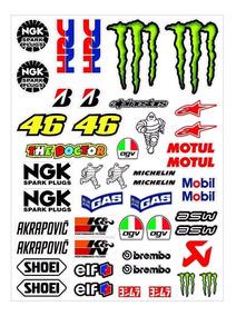 Cartela Adesivo Moto Gp Monstro Agv Michelin Rossi
