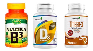 Kit Tratamento: 2 Vitamina D3, 2 Ômega 3,2 Vitamina B3.