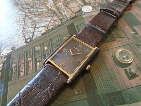 Cartier Tank Madeira Lei Mogno Antigo Original Unisex Raro