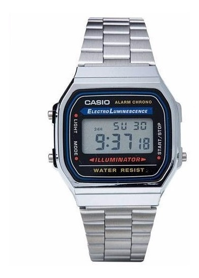 Relógio Casio A168wa-1wdf Cronômetro Alarme Dual Time Prata