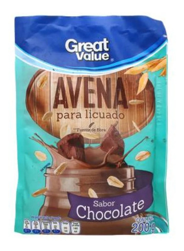 Avena Great Value Para Licuado Sabor Chocolate 200 G 3 Pzas