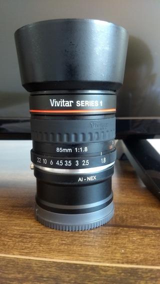 Lente Vivitar 85mm 1.8 Nikon Com Adaptador Para Sony