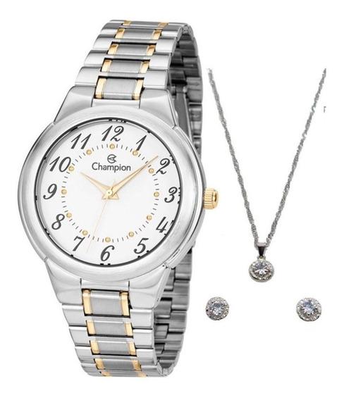 Relógio Champion Feminino Prata + Kit