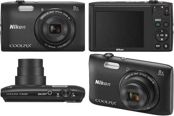 Camera Digital Nikon S3600 20.1mp 8x Zoom