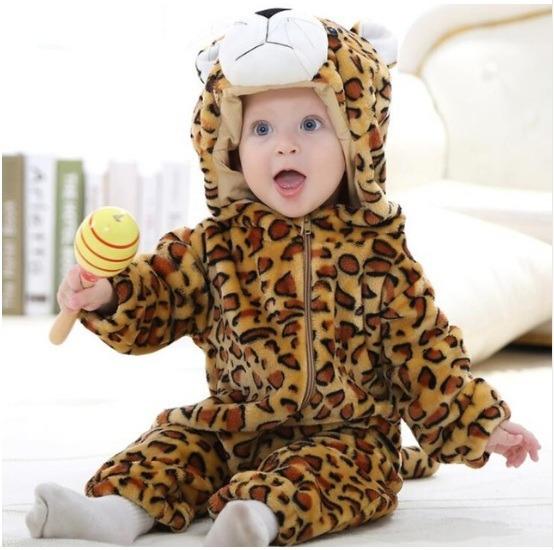 Macacão Bebê Bichinhos Desenho Fantasia Menino Leopardo