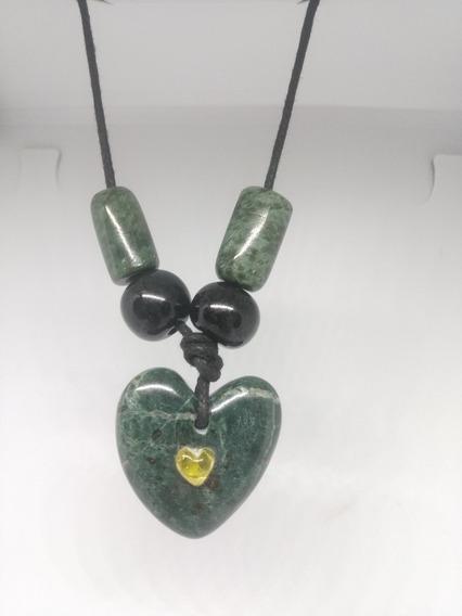 Collar De Corazón De Jade Con Ámbar Autèntico