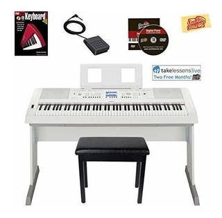 Piano Digital Yamaha Dgx-660 - Paquete Blanco Con Banco De