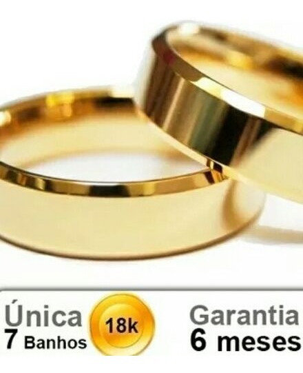 Par De Alianças Chanfradas 6mm Folheado Em Ouro
