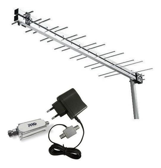 Antena Externa Uhf Hdtv Digital 28 Elementos 15dbi + Booster