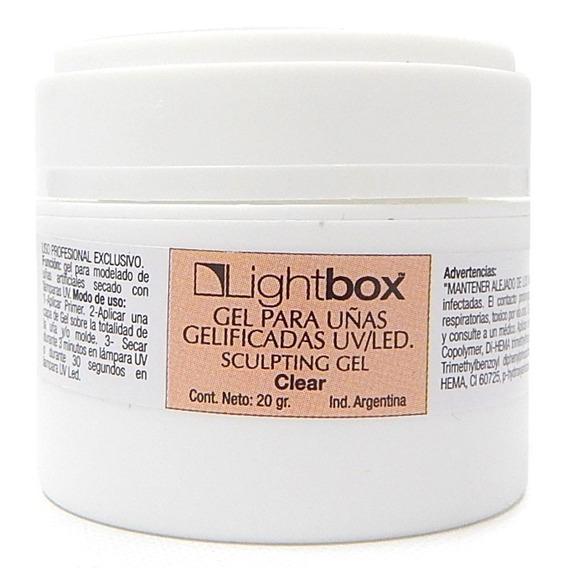 Lightbox Clear Gel Construcción Uñas Esculpidas Uv Led 20grs