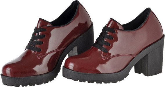 Sapato Feminino Cr Shoes Verniz Salto Tratorado 1710