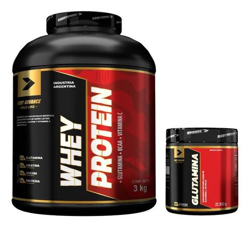 Imagen 1 de 7 de Whey Protein 3 Kg ( Proteína Pura ) + L - Glutamina 200 Gr. Body Advance