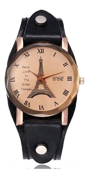 Relógio Bracelete Feminino Torre Eifell Paris Couro Legítimo