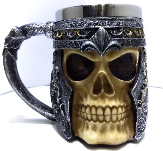 Caneca Chopp Medieval Inox Resina Cranio Caveira Cerveja Bar