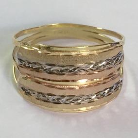 Labelejoias Anel Tricolor Fosco E Diamantado Ouro 18k 750