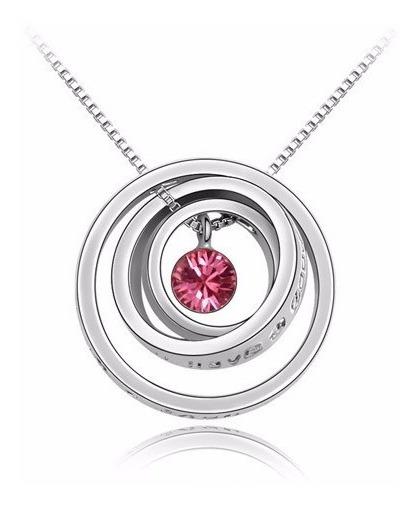 Colar Cordão Anéis Mãe Agradecimento Pedra Rosa