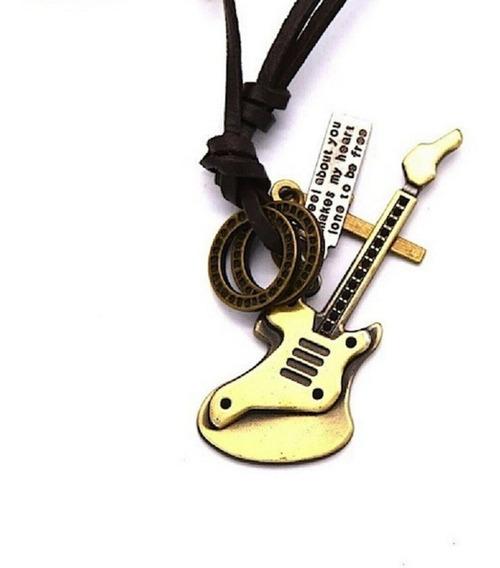 Cordão Ajustável Guitarra + Plaquinha Couro
