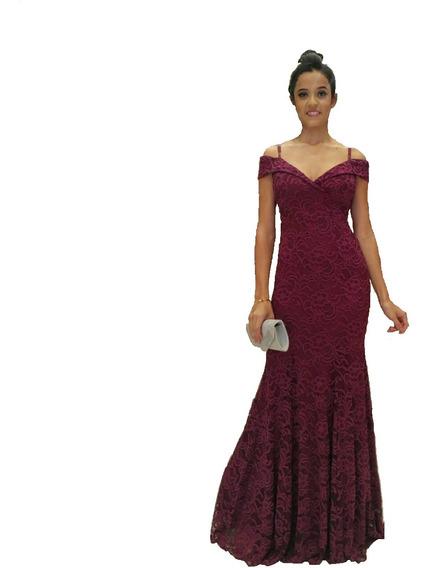 Vestido De Festa Longo Marsala Renda Formanda Casamento