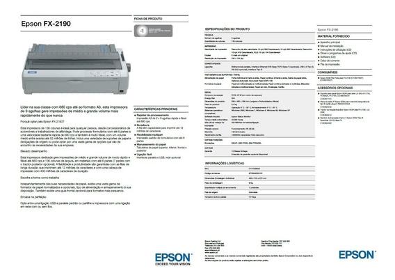 Impressora Epson Fx-2190 Matricial Grande Frete Negociável