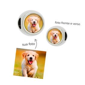 Berloque Personalizado Com Fotos Dois Lados Redondo Passante