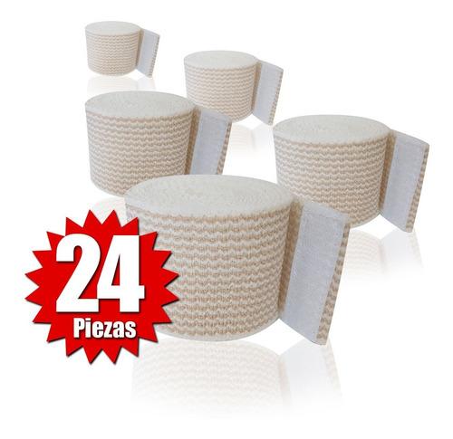Imagen 1 de 2 de Venda Elástica Alta Compresión Con Velcro De 5cm (24 Piezas)