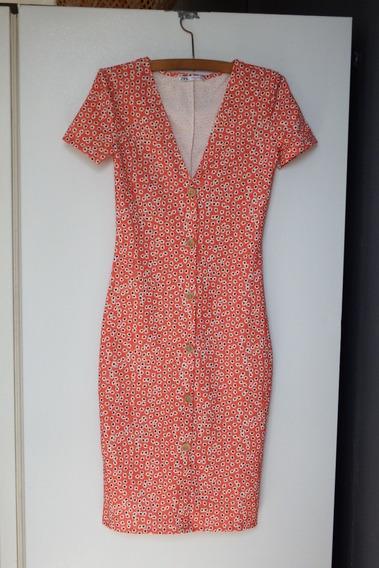 Vestido Floreado Naranja Zara