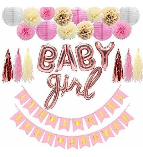 Decoraciones Para Baby Shower De Color Rosa Y Dorado Para Ni