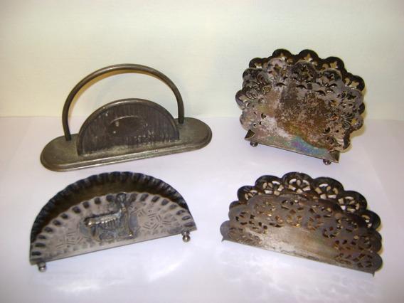 Antiguos Servilleteros En Metal Plateado