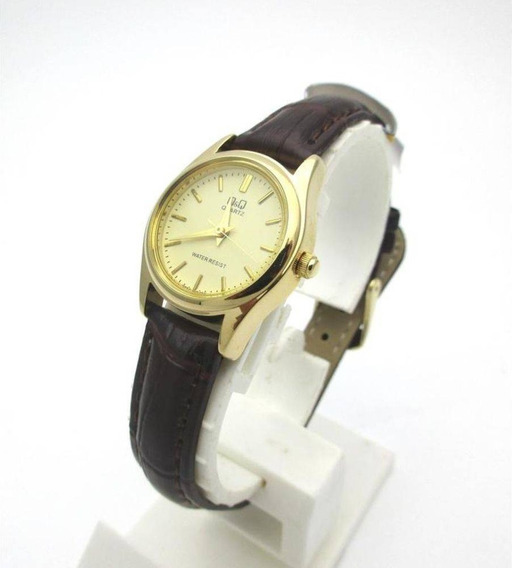 Relógio Analógico Dourado Correira Couro Q&q Qq By Citizen
