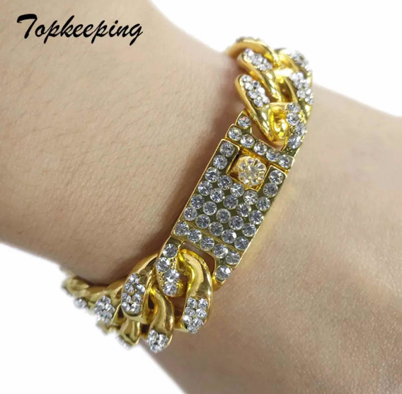 Pulsera Iced Out Full De Fantasía Oro De 18k Con Diamantes !