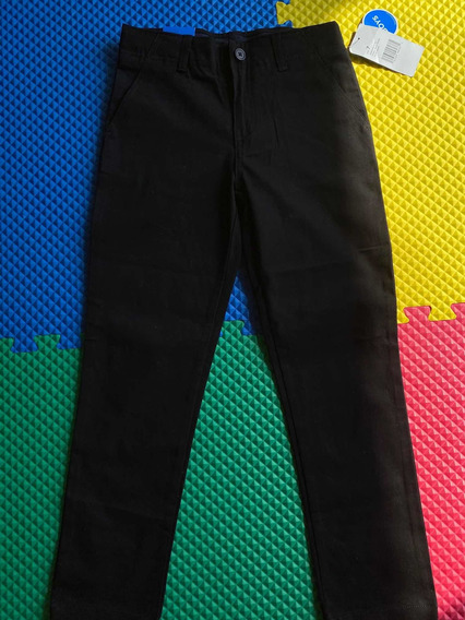 Pantalón De Vestir Para Niño Talla 7 Años Negro Stretch.