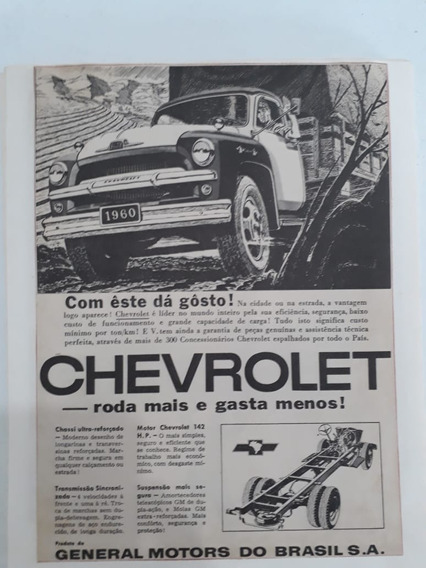 Propaganda Antig Anúncio Caminhão Chevrolet 1960 Marta Rocha