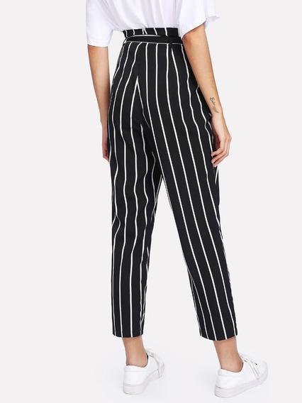 Cinturón Auto Pantalones A Rayas - Mujer W