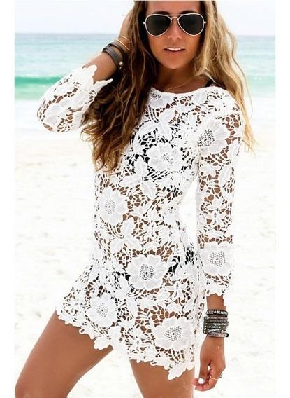 Saida De Praia De Renda Moda Vestido