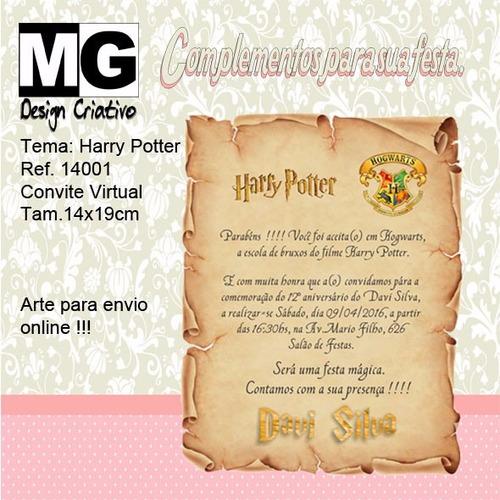 Imagem 1 de 1 de Ref.14001 - Convite Virtual Harry Potter