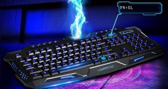 Eclado Gamer Luminoso Led Neon Usb Legends Ghost Tecla Ç A2