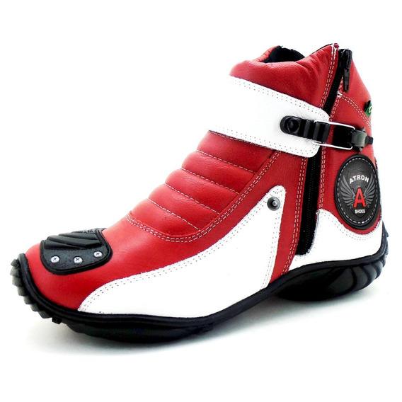 Coturno Motociclista Com Logo Atron Shoes Em Couro Legítimo