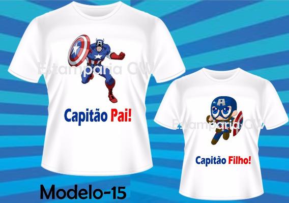 Kit Camisetas Tal Pai Tal Filho Capitão America Dia Dos Pais