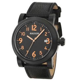 Relógio Magnum Ma34745j Calendario Pulseira Couro