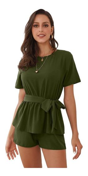 Palazzo Short Outfit Playa Verde Musgo Todas Las Tallas M035