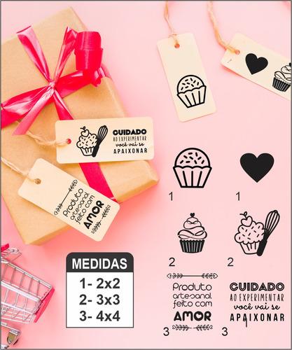 Imagem 1 de 9 de Kit 6 Carimbos Confeitaria Tag, Sacos, Sacolas E Caixa Kraft