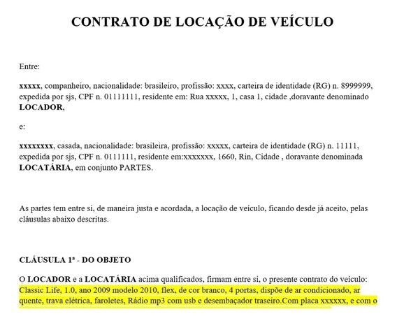 Contrato Para Locação De Veiculo Uber Cabify 99pop