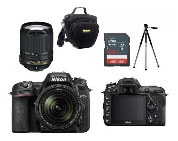 Nikon D7500 18-140mm Vr +bolsa+tripe+cartão 64gb Nota Fiscal