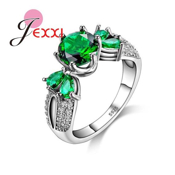 Anel De Prata 925 Com Pedras De Cristal Ver E Zirconia