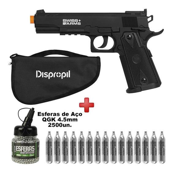 Pistola Pressão Co2 P1911 Match 4.5 + 15 Co2 + Esferas Aço