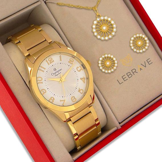 Relógio Champion Feminino Dourado Ouro 18k Com 1 Ano De Garantia Prova D