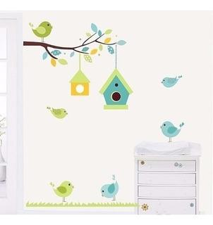 Adesivo Decoração De Parede Galho Pássaros Casinha Infantil